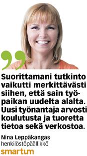 Alan vaihtaminen kannatti Nina Leppäkankaalle.